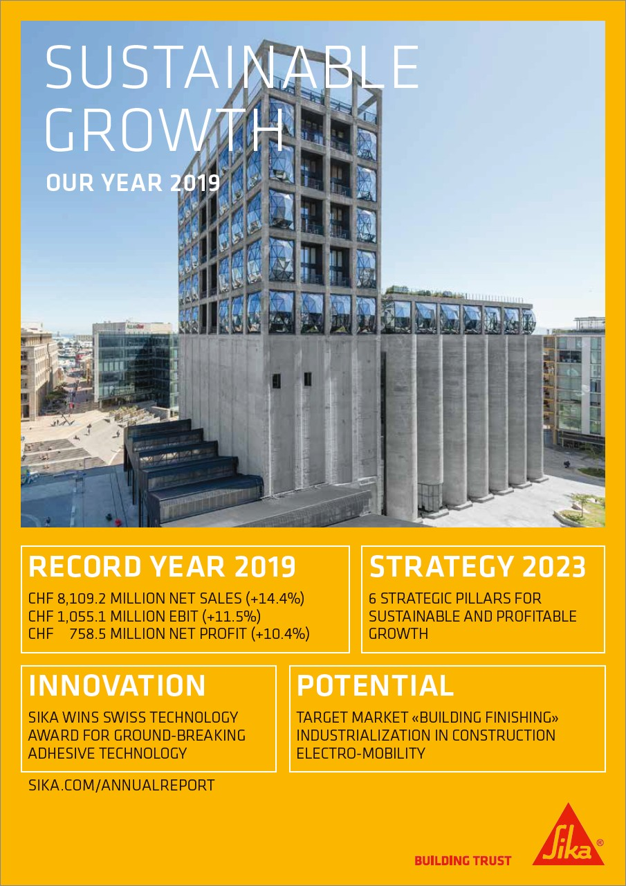 Sustainable Growth - Sika Annual Magazine 2019